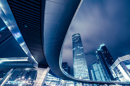 commercial architecture: The night view of Shanghai, skyscrapers and Cloverleaf