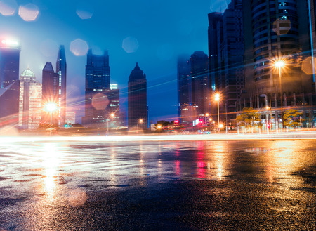 communication tools: the light trails on the street in shanghai china.