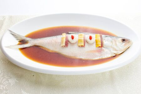 perch: Steamed Perch, a healthy way of cooking Stock Photo
