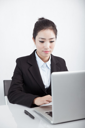 Asian business woman using laptop at work Stock Photo - 88535345