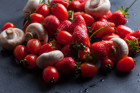 put together: Put together the strawberries and mushrooms, vegetarian