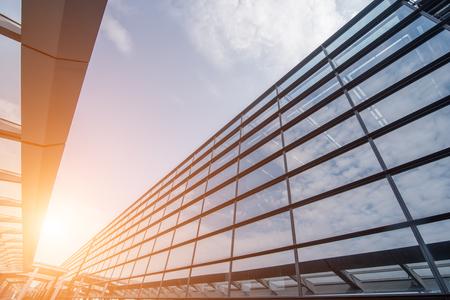 Closeup of building exterior at sunset