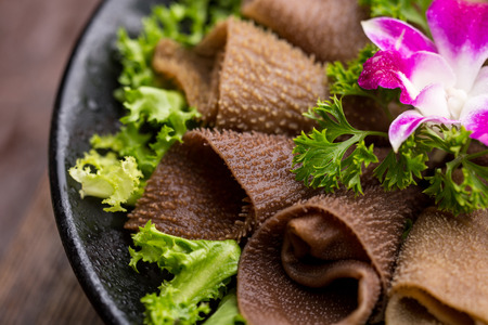 second meal: raw tripe with vegetables ready to be cooked,Sichuan Hot pot dishes Stock Photo