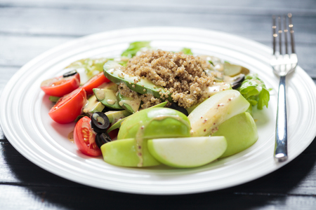 collocation: Healthy meal, on black background