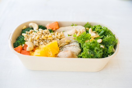 A healthy meal in a lunch box