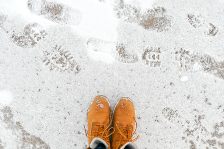 Top view of yellow shoes / boots standing on the ice near the sea. Winter season.