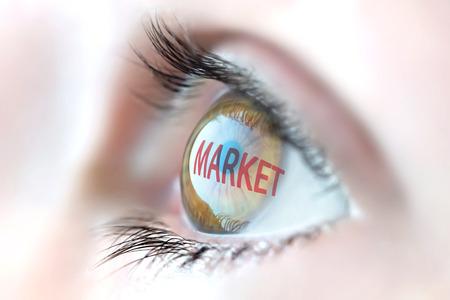 decoding: Market reflection in eye. Stock Photo