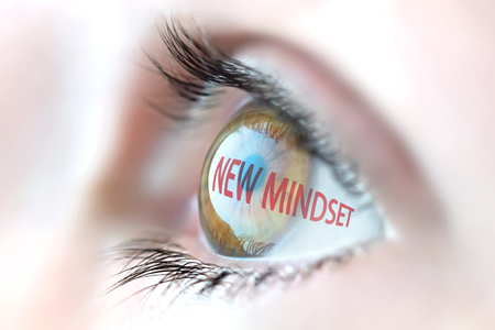mindset: New Mindset reflection in eye.