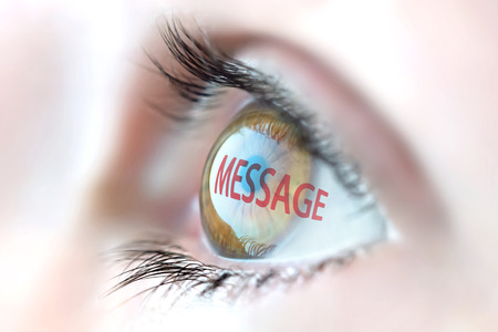 advisement: Message reflection in eye. Stock Photo
