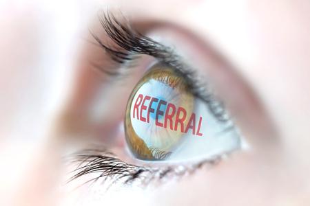 referral: Referral reflection in eye. Stock Photo