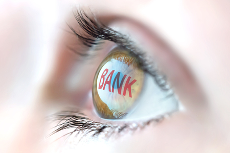 interst: Bank reflection in eye.