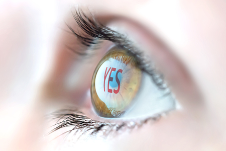responce: Yes reflection in eye. Stock Photo