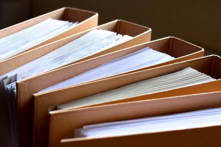 bureaucratic: File Stack, file folder close up for background.
