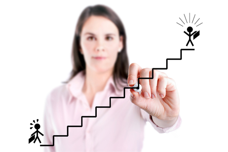 career ladder: Young businesswoman drawing the career ladder concept, isolated on white.