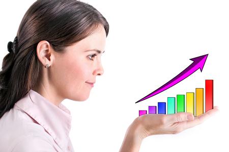 Graphs on the hands of businesswomen.