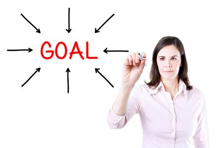 compile: Young business woman access the goal. Isolated on white.