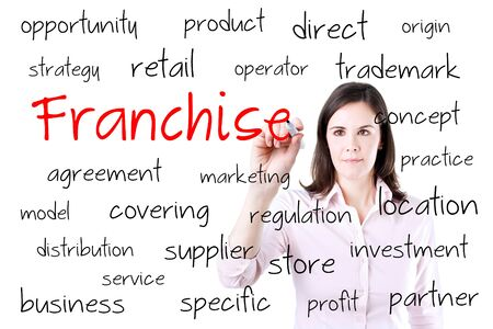 distribute: Young business woman writing a franchise concept. Isolated on white. Stock Photo