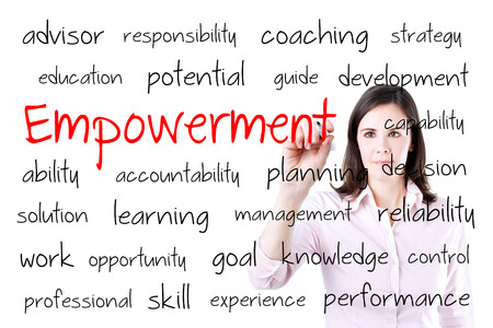 endow: Young business woman writing empowerment concept. Isolated on white.