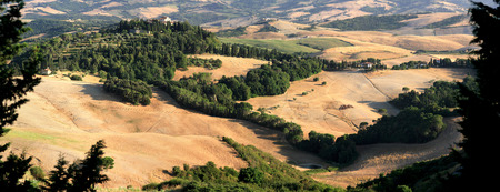 podere: Panorama landscape in Tuscany in summer. Stock Photo