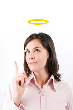 lady boss: Image of businesswoman with halo above head. Stock Photo