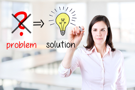 eliminate: Young business woman Eliminate problem and find solution. Office background.