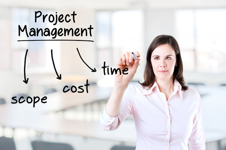 constrain: Young business woman writing project management concept. Office background.