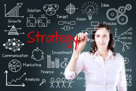 Femme d'affaires jeune écrivant le concept de stratégie d'entreprise