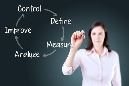 Business woman writing process improvement concept. Blue background. Stock fotó
