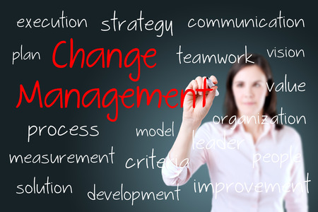 Young business woman writing change management concept Standard-Bild