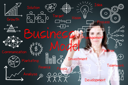 Business woman hand writing business model concept