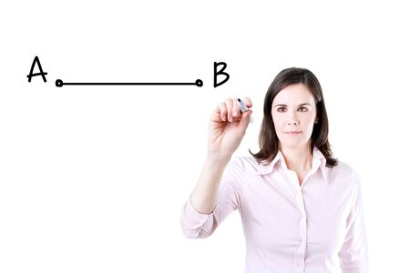 shortest: Business woman drawing the shortest way to move from point A to point B. Stock Photo