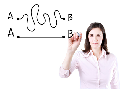 Business woman drawing a concept about the Importance of Finding the shortest way to move from point A to point B, or finding a simple solution to the problem. Standard-Bild