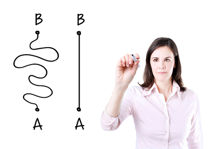 shortest: Business woman drawing a concept about the Importance of Finding the shortest way to move from point A to point B, or finding a simple solution to the problem. Stock Photo