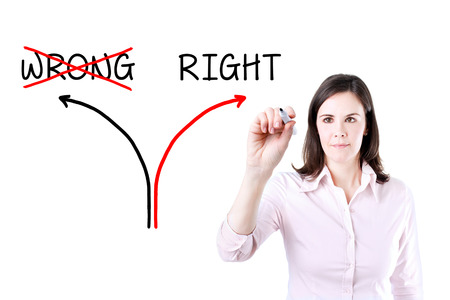 rightful: Choosing The Right Way INSTEAD of the Wrong one. Stock Photo