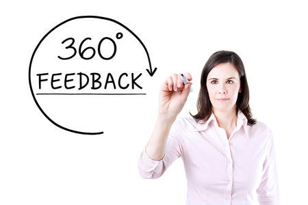 Businesswoman drawing a 360 degrees Feedback concept on the virtual screen.