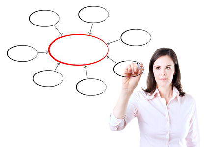 gist: Young business woman writing diagram of centralization. Isolated on white. Stock Photo