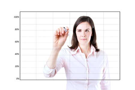 boomers: Young business woman drawing on empty graph. Isolated on white.
