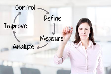 Business woman writing process improvement concept. Office background. Reklamní fotografie