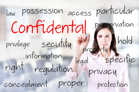 concealment: Young business woman writing Confidential concept. Office background.