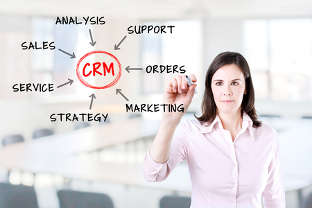 young relationship: Young businesswoman drawing Customer Relationship Management process concept. Office background. Stock Photo