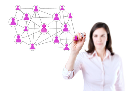multilevel: Businesswoman with pen drawing social network or multi-level marketing concept illustration connection on the whiteboard. Isolated on white. Stock Photo
