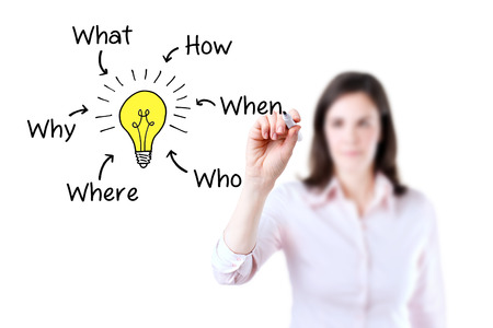 Business woman analyzing problem and find solution, white background.