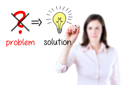 eliminate: Young business woman Eliminate problem and find solution, white background.