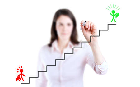career ladder: Young businesswoman drawing the career ladder concept, white background.
