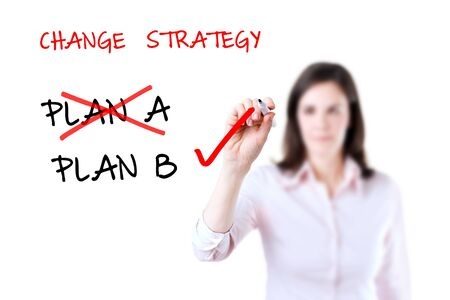Business plan strategy changing, white background.