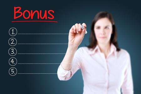 compensated: Business woman writing blank Bonus list. Blue background.