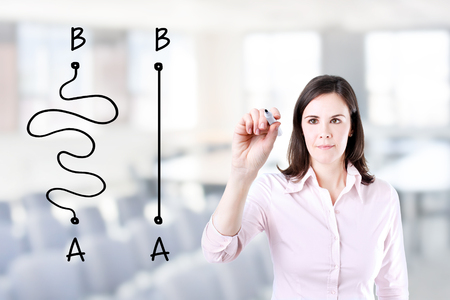 shortest: Business woman drawing a concept about the Importance of Finding the shortest way to move from point A to point B, or finding a simple solution to the problem. Office background. Stock Photo