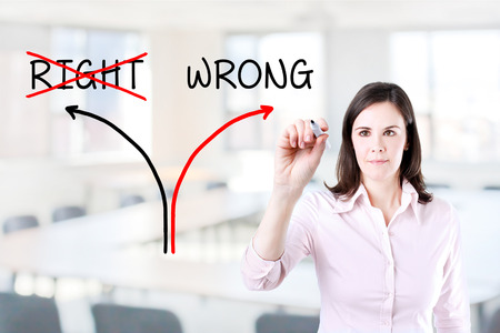 inaccurate: Choosing the Wrong Way INSTEAD OF the Right One. Office background.