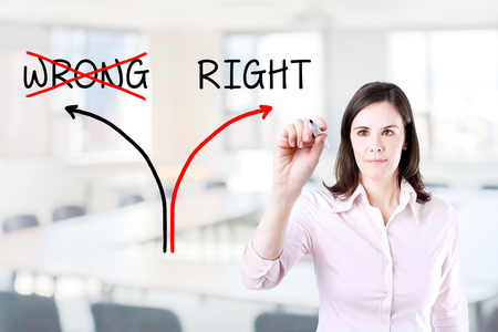 rightful: Choosing The Right Way INSTEAD of the Wrong one. Office background.