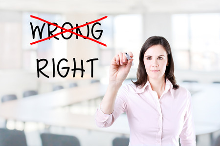 rightful: Choosing the Right Way. Office background. Stock Photo